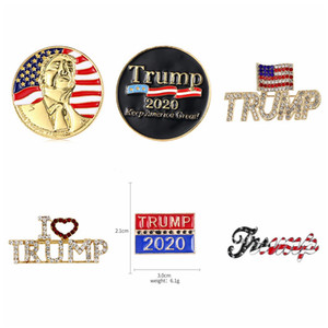 Donald Trump emblema comemorativo de 2020 US Presidential Election broche de metal Pin Crystal Collection Broche lembrança moedas DDA357