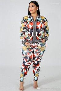 Bekleidung Frauen Sommer Designer 2Pcs lange Hosen Floral Sport Style Weibliche Kleidung Mode Zipper Print Lässige