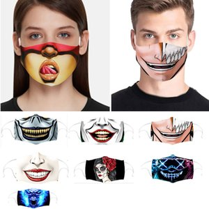 Washable Expression Adult Mask Retractable Hanging Ear Mouth Mask Austproof Protective Designer Mask 10 Styles Dhl Ship Hh9-3081