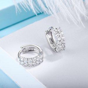 pendientes de temperamento sencillo de diamante estilo coreano S925 plata de doble hilera de mujeres de doble hilera de diamantes pendientes