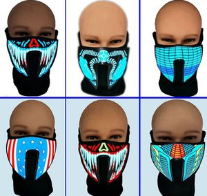 ciclismo maschere suono Maschera attivato costume maschera Light Up Halloween Party luminoso Voice Control per il partito di Cosplay KKA8046