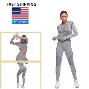 Йога Костюмы для женщин 2Pcs Костюм длинного рукава быстрых сухой дышащей плотного костюм пригодность тренировка одежды