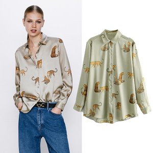 Women 2020 Fashion Animal Print Cozy Blouses Vintage Long Sleeve Button-up Female Shirts Blusas Chic Tops