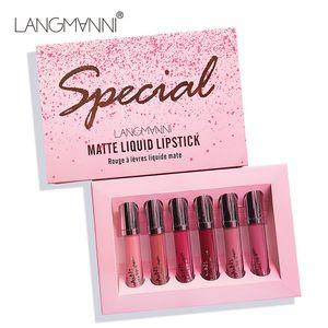 Hot vente Langmanni 6pcs / set Matte liquide rouge à lèvres imperméable Long Lasting Lip Gloss DHL expédition rapide
