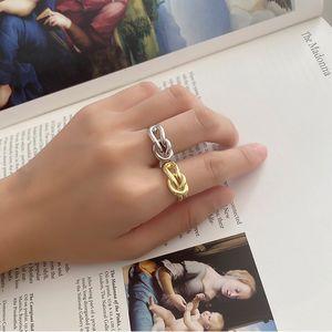 Amaiyllis S925 Sterling Silber geknotete öffnen Ring Interwoven Zeigefinger-Ring Schmuck Accessoires für Frau Geschenk