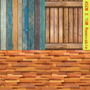 Vintage Wood Grain Block Wallpaper Self-adhesive Removable Wall Cover Stickers House Decor Home Bedroom Living Room Renovation T200827