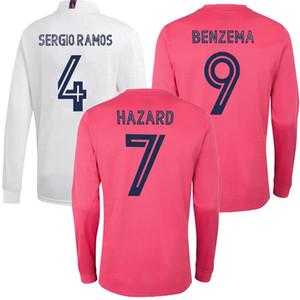 20 21 Real Madrid PELIGRO MODRIC de manga larga para hombre del fútbol jerseys SERGIO RAMOS BENZEMA de ISCO BALA MARIANO fútbol Uniforme Camisa personalizada