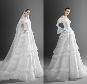 2021 Zuhair Murad A Line Wedding Dresses Sexy Off Shoulder Long Sleeve Lace Sweep Train Plus Size Tiered Ruffles Wedding Robe De Mariée