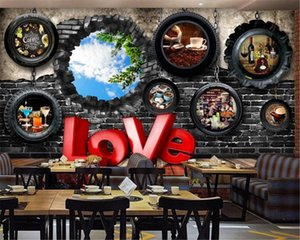 3d Home Wallpaper Vintage Bar Cafe Tire Brick Wall Background Wall Living Room Bedroom Wall Paper
