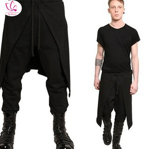 Herrenhose Susola Cool Herren Gothic Punk-Stil Harem Schwarz Hip Hop Streetwear Skinny Kleid Rock Hose Faux Zwei Stücke Set