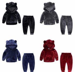 2 Pcs For Boys And Girls Leisure Golden Velvet Clothing Set Spring And Autumn Baby Kids Soft Sports Suit. Free shipping