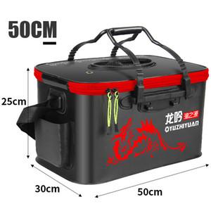 40cm / 45 cm / 50 centímetros dobrável Fishing Bucket Duplas Grande Thicken ao vivo Pesca Box Peixe Cooler Bag Pesca Tanque Pesca Equipamento T200819