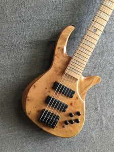 Custom 6 Strings Natural Wood Electric Bass Guitar Maple Body 24 frets Black Hardware Active Pickups Free Shipping