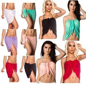 Uma peça Sarong Praia Saia Multifuncional cor sólida Biquini Vest envoltório protetor solar Short Skirt Praia Verão Tampa 100pcs T1I2272