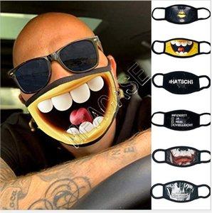3D Komik Yıkanabilir Yeniden kullanılabilir Bisiklet Maske D81210 Trendy İfade Yarım Yüz Maskeleri Tasarımcı Karikatür Desen Moda Pamuk Maskeler Maske