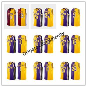 Hombres Los AngelesLakersJames Davis 3 24 2 Bryant Cocine 0 Kuzma 34 O'neal púrpura Lebron Anthony Quinn Kyle camiseta de división de oro