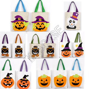Pumpkin Handbags Designers Halloween Decorations Children Kids Gifts Candy Bags Linen Cartoon Shoulder Bag Totes Costume Party Props D81802