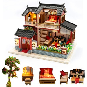 diy big Chinese retro doll house wooden doll houses bedroom miniature villa dollhouse kast furniture kit jugetes para ninos Y200317