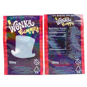 Kuru ot Tütün Çiçek Resellable için Wonka gummies Mylar Bag 500mg Edibles Fermuar Kılıfı Smeproof Depolama Perakende Çantası