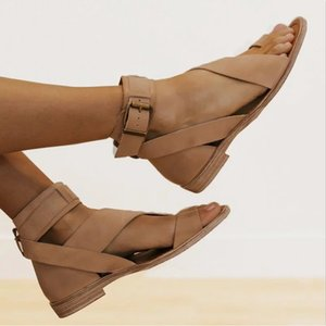 Summer Women Beach Flat Sandals Gladiator Open Toe Flip Flops Roman Buckle Ankle Strap Casual Ladies Shoes Zapatos Mujer