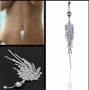 Sexy Dangle Belly Bars Nombril Argent diamant Anneaux nombril CZ fleur de cristal Bijoux du corps Piercing Anneaux c4rP #