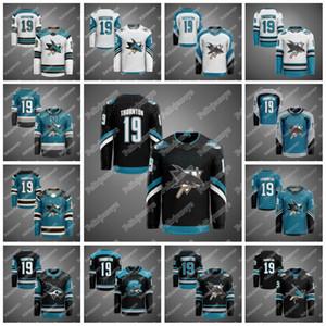 San Jose Sharks 30th Anniversary Warm-Up Jerseys 19 Joe Thornton Brent Burns Erik Karlsson Logan Couture Evander Kane Martin Jones