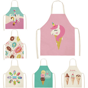New Designer Summer Kitchen Cooking Apron Ice cream Fruit Printed Home Sleeveless Cotton Linen Aprons Men Women Baking Accessories (68*55)