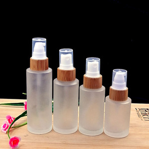 Матовое стекло эмульсии спрей бутылку 50шт для ухода за кожей крем банку Косметическая упаковка контейнер с экологически чистой деревянной бамбуковой крышкой