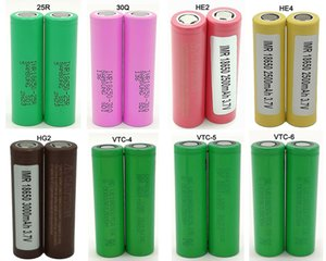 200pcs Best Quality 18650 Battery Batteries 3500mAh 25R HG2 30Q VTC6 VTC4 VTC5 3000mAh HE2 HE3 HG2 E Cig Mod Rechargeable Li-ion Cell