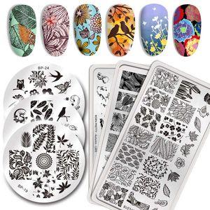 BORN BONITO Retângulo prego Estampagem placas padrão de modelo de aço inoxidável Art Nail Ferramentas Outono Tema Placa
