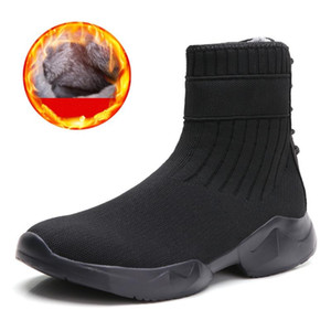 Fashion Winter Socks Boots for Women Black Shoes Mesh Casual Slip-On Sport Shoes Runing Breathable Punk Boots woman Sneakers