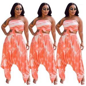 Одежда 2 Piece Set Summer женщин Дизайнерские повседневные костюмы Sexy Tie Dye Printed без бретелек Стиль Топы плиссированные штаны женщин