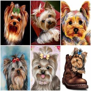 AZQSD fai da te pittura a olio dai numeri degli animali regalo unico Coloring By Numbers cane per kit adulti Unframe Oggettistica per la casa