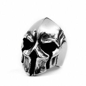 Vintage Paslanmaz Çelik Spartan Savaşçı Kaskı Halka Titanyum Çelik Punk Skull Yüzük İçin Erkekler zbDM #