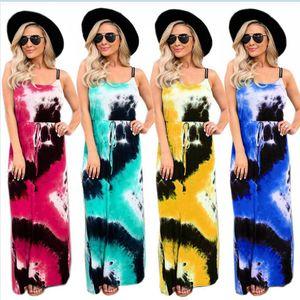 Femal Batik Elbiseler Kadınlar Maxi Baskılı Suspender Uzun Elbiseler Yaz Moda Kolsuz Gevşek Casual Dreess Kadınlar Giyim LJJP314