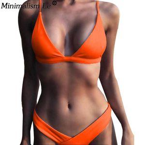 Femmes solides Ensemble bikini sexy Bikinis taille basse Maillots de bain Maillot de bain été Retro Maillot Femme Porter Jaune Plage Biquini