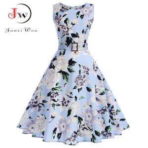 Vestidos Vintage Dress Summer Floral Print Sleeveless Party Dresses 50s 60s Elegant Rockabilly Sexy Pin Up Dress with Belt MX200518