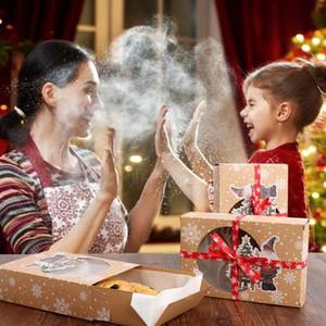 24pcs Christmas Cookie Confezioni Regalo di Capodanno favorisce i contenitori con Clear Window della carta kraft di caramella Arts Box Package