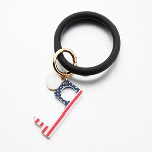 Keychain pulseira PU Chaveiro Couro Acrílico Non-Contact Door Opener Key Touch Gancho Maçaneta Key Elevador Ferramentas Partido ZCGY51 Favor