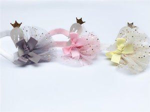 Boutique 12pcs Fashion Cute Glitter Tiaras Swan Star Lace Skirt Headbands Solid Animal Soft Hairbands Princesss Hair Accessories