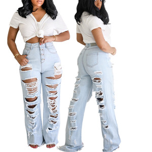 New Fashion personalized front and back hole version pants leg burrs straight pants IPXW