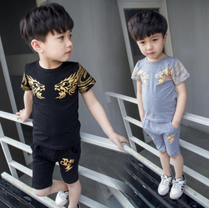 Lucky child summer boys letter print children clothing set baby clothes short-sleeve T-shirt hoodies pant kids sport suit