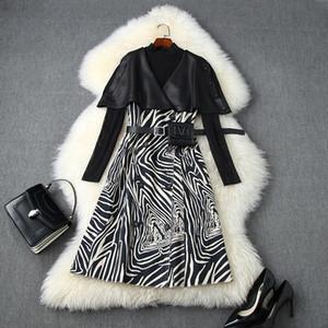 das mulheres europeias e americanas de roupas 2020 Outono novo estilo T-shirt de manga comprida Zebra-print vestido de capa de duas peças