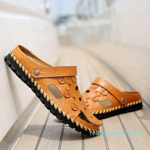 Men Casual Sandals 2018 Summer Men Leather Beach Sandals High Quality Sandale Homme Flat Shoes Sandalias Para Hombre Size 38-44 #56770 r08