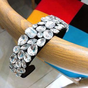 Faixa de Cabelo Moda Mulheres Wideside Headband Luxo Rhinestone Decor Cabeça de Hoop