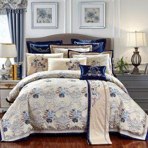 4PCS الشرقية جاكار ترف مجموعة مفروشات الملك / الملكة الحجم القطن التطريز سرير / شقة ورقة مجموعة انتشار السرير غطاء لحاف Juego دي كاما