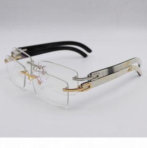 버팔로 호른 안경 골드 실버 무테 광학 투명 안경 남성 여성 브랜드 디자이너 최고 품질 화이트 내부 블랙 버팔로 호른