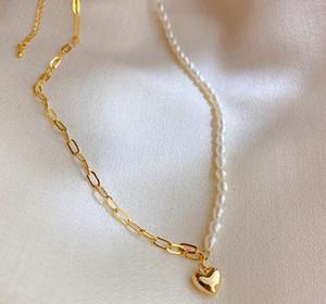 Mode chaud Perle chaîne Colliers en or 18 carats Hear Pendentif Collier ras du cou Bijoux pour femmes Party de mariage