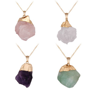 Natural Stone Irregular Pendant Vintage Crystal Stone Charms for Necklace Earrings Fashion Jewelry DIY Accessories Pendants NO CHAIN