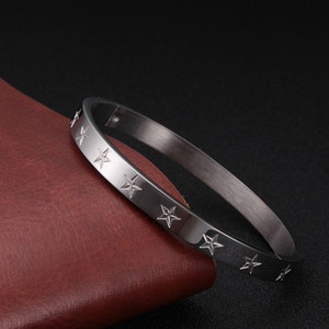 316L Stainless Steel Pentagram Bangles Bracelets Woman Man Rose Gold Plating Female Charming WristBand Party Jewelry